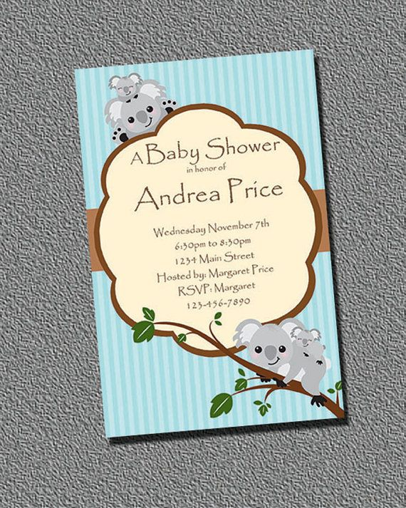 Koala Boy Shower Invitation PRINTABLE by perfectcelebrations, $8.50