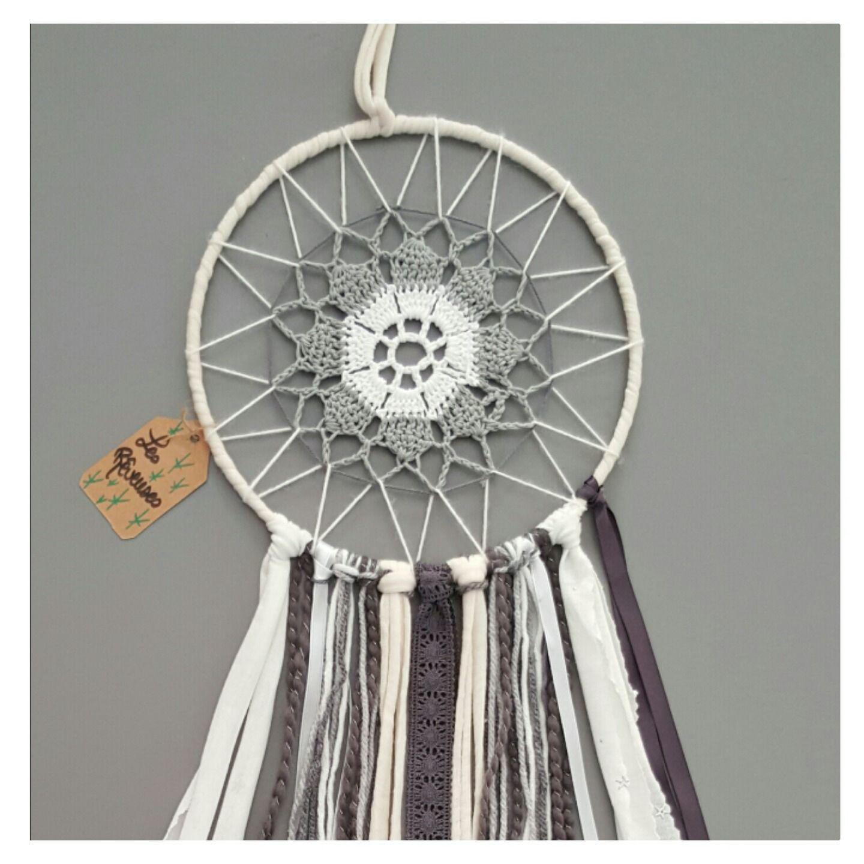 Attrape r ve personnalisable gris blanc crochet dream - Attrape reve crochet ...