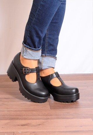 Black T-Bar Buckles Cleated Platforms