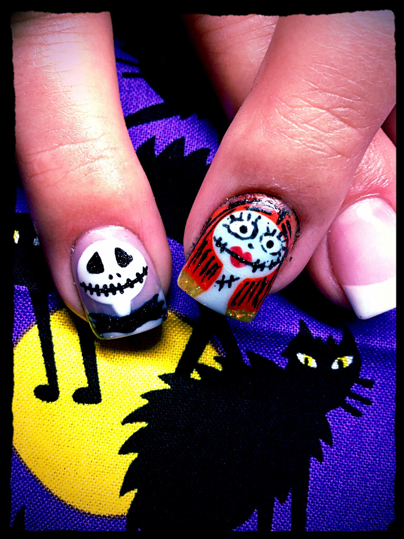 Jack and Sally Halloween Nail Art #nightmare before christmas #nails ...