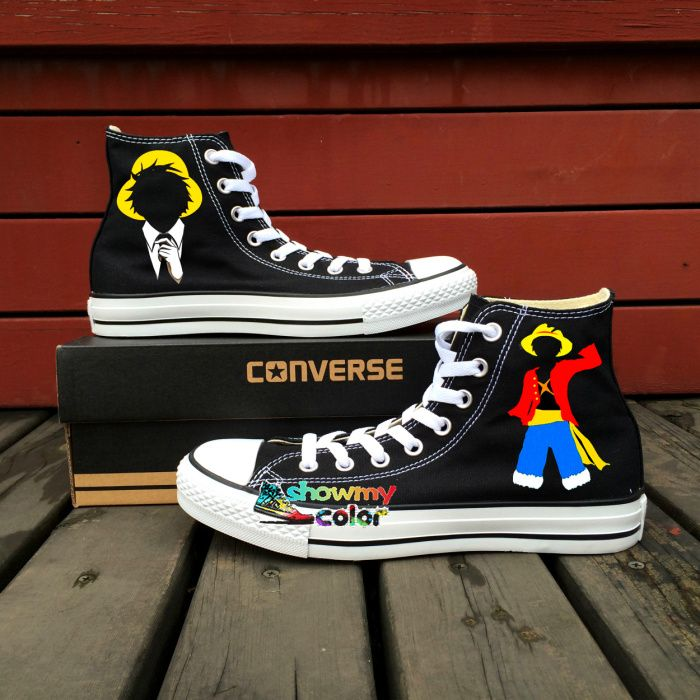 5314821939ab Men Women Canvas Sneaker Shoe Brand Converse All Star Hand Painted Anime  Shoes One Piece Luffy