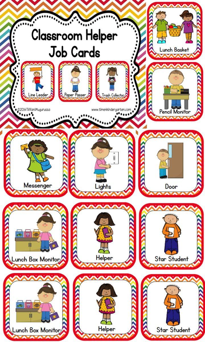 Classroom Helper And Job Cards Rainbow Chevron Classroom Jobs