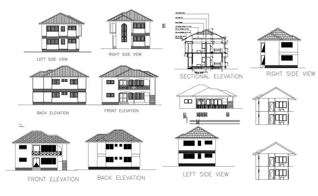 Drawing Of House Plan With Elevation Details In Dwg File House Drawing House Design Drawing Open House Plans