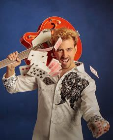 Tommy Wind performs Music, Magic, and More in his show at The TW Theater on The Las Vegas Strip.