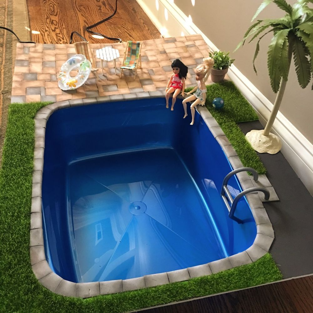 DIY Miniature Doll Swimming Pool and Patio #dollfurniture