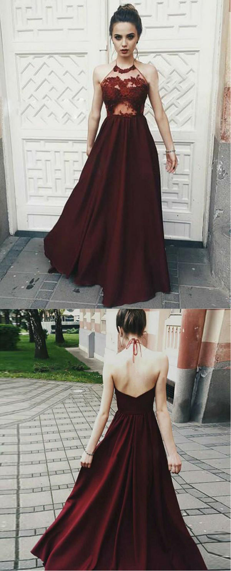 Hot sale a line burgundy prom dress modest cheap long evening dress