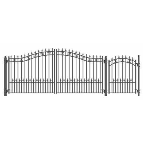 Aleko Steel Dual Swing Driveway Gate Venice Style 14 Ft With Pedestria Garage Department Iron Gate Design Wrought Iron Gate Designs Driveway Gate