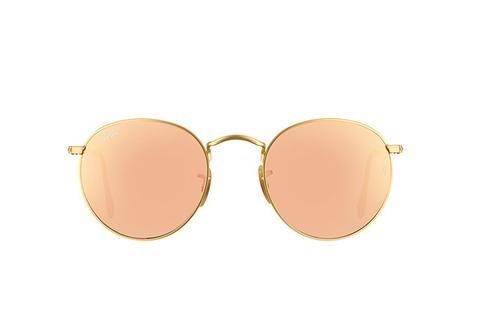 b1304a809bb Ray Ban Round Sunglass Matte Gold Pink Mirrored RB 3447 112 Z2 – Sunglass  Oasis…