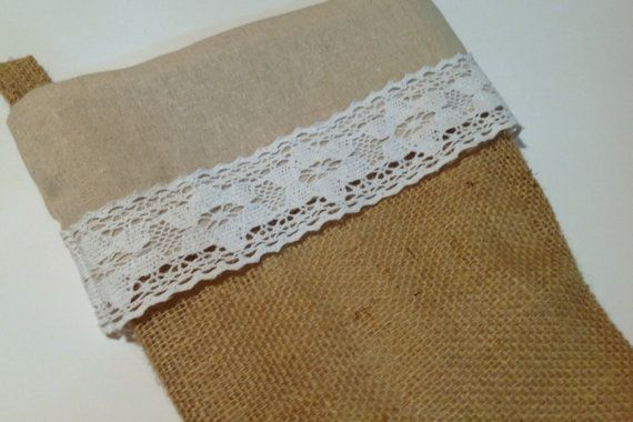 Green Design: The Linen & Lace Burlap Christmas Stocking by WhiteCurtinDesign on Etsy