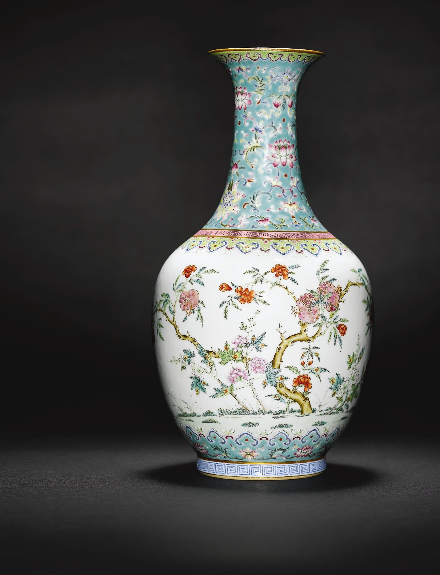 A turquoise ground famille rose vase daoguang seal mark and period a turquoise ground famille rose vase daoguang seal mark and period reviewsmspy