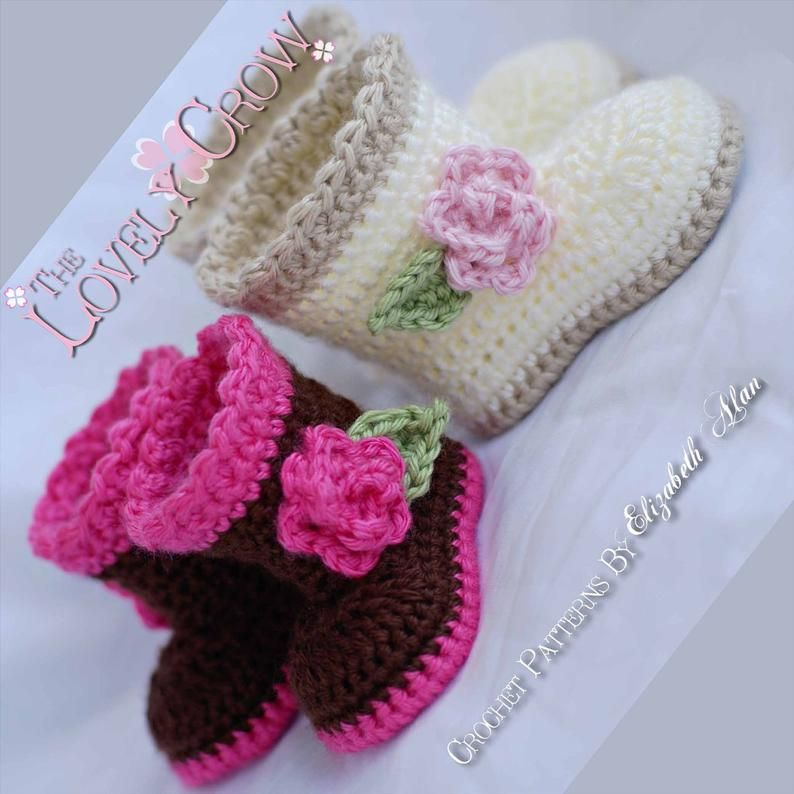 Layette Crochet Patterns Sugar and Spice Set.  Includes patterns for Sugar and Spice Earflap Beanie, and Baby Sugar and Spice Boots. digital #crochetformoney