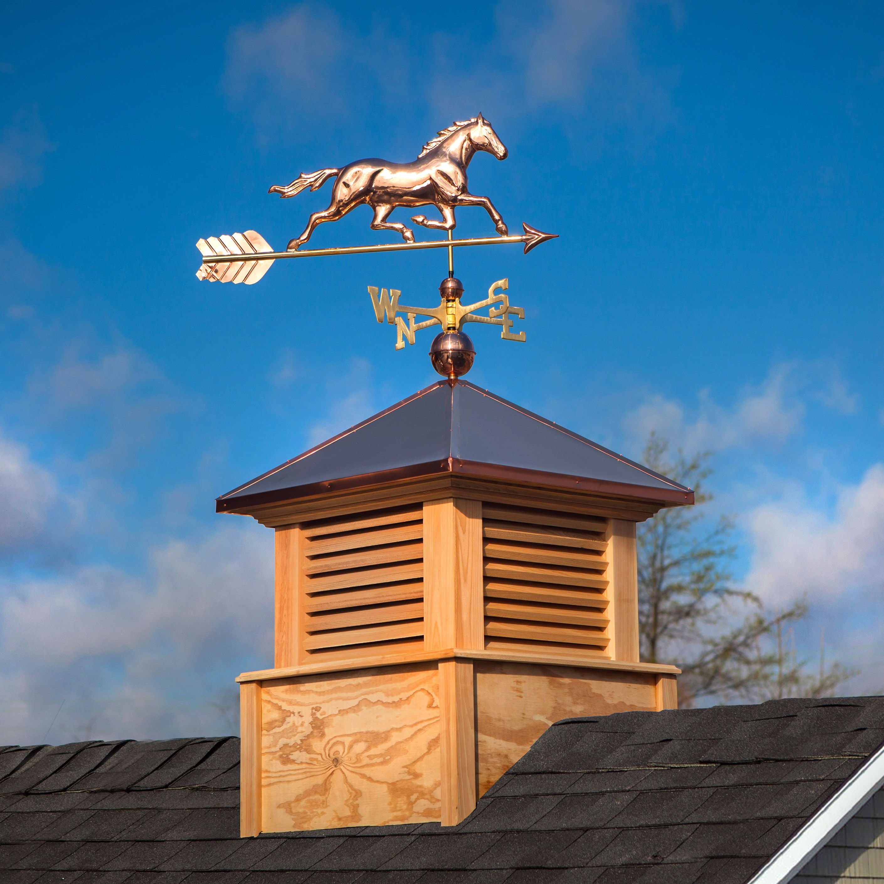 Trotting Horse Weathervane With The Manchester Wood Cupola With Copper Roof Copper Roof Cupolas Roof Decoration