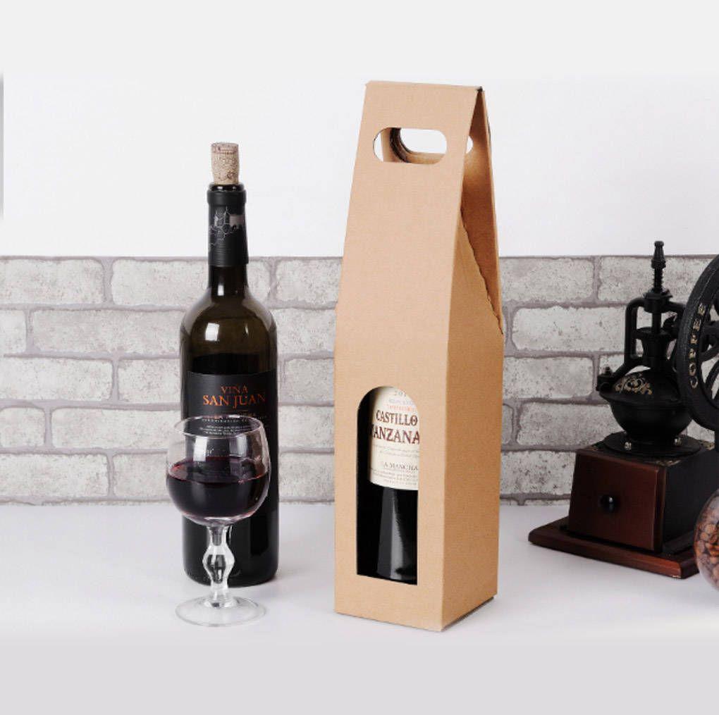 10 Pcs One Bottle Wine Carrier Kraft Paper Wine Packaging Wedding Party Favors Wine Carrier Wine Bottle Carrier Wine Bottle