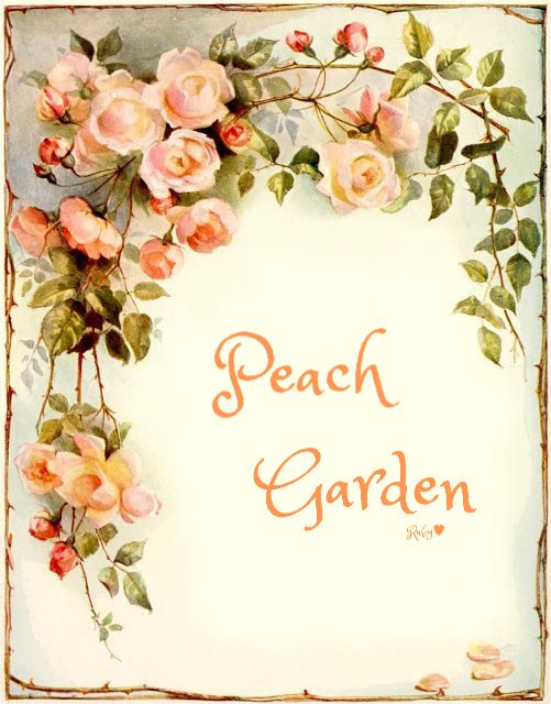 Pastel Orange, Peach, Green - Vintage Art