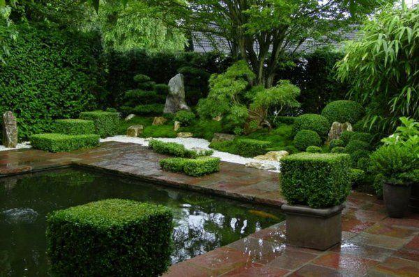 Zen Garten Anlegen Japanisch Immergrüne Pflanzen Teich Great Pictures