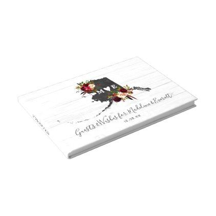 Alaska State Destination Rustic Wedding Monogram Guest Book - barn - guest book template