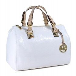 Michael Kors Grayson Mono Mirror Metallic Patent Leather White Large Satchel