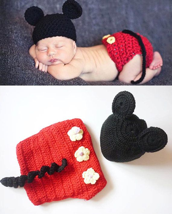 Baby Boy Newborn Crochet Mickey Mouse Outfit by dreammadestudio ...