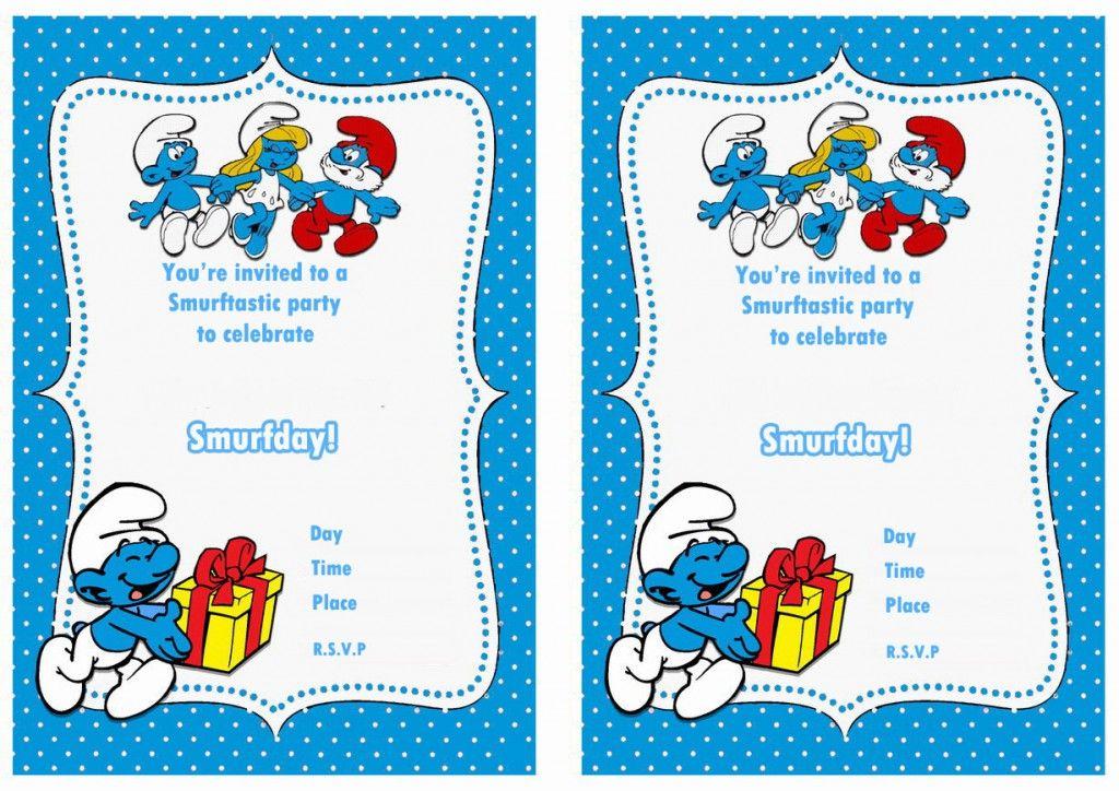 Smurfs Birthday Invitations Printable