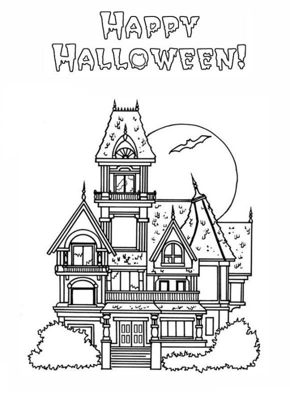 Hallowen Coloring Haunted House Coloring Pages Printable Free Haunted House Coloring P Halloween Coloring Free Halloween Coloring Pages House Colouring Pages