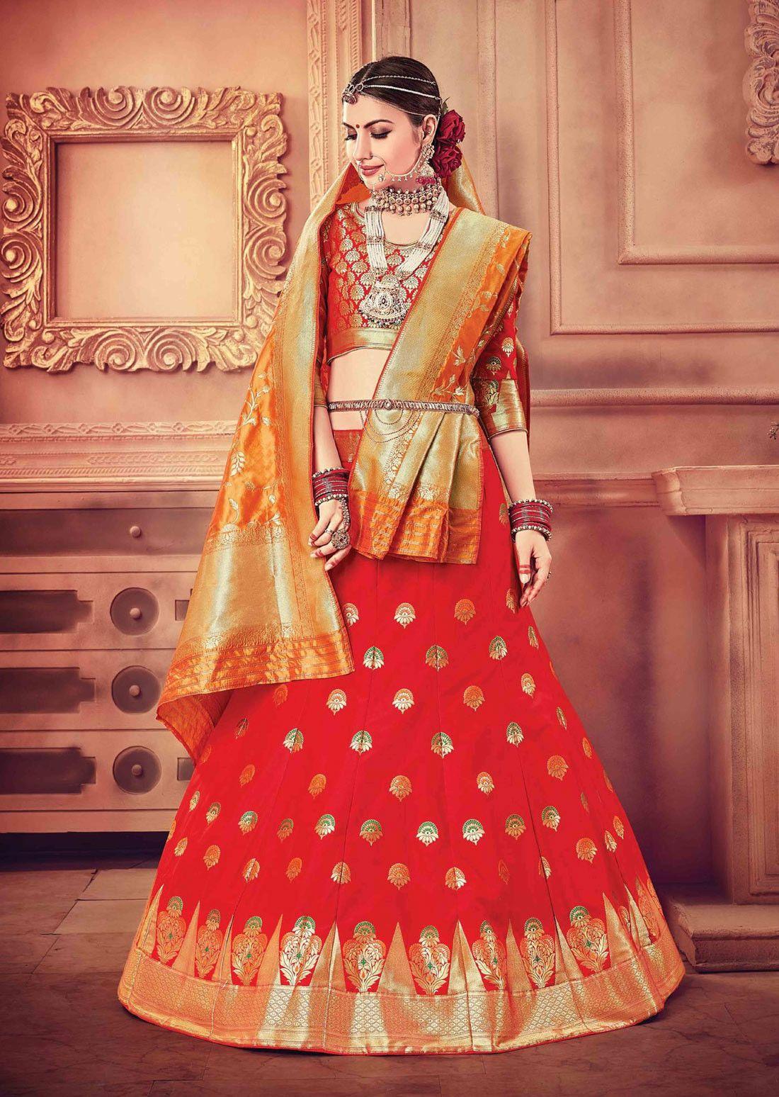 fa7f77e102 Hot Red bridal lehenga choli in pure banarasi silk | Bridal Wear ...