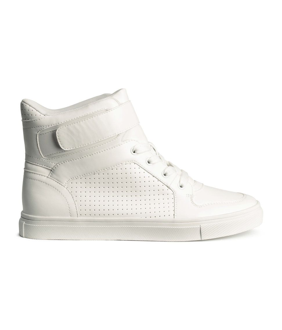 on sale 65f35 47bc1 White faux leather high top sneakers with front laces   velcro fastener.    H M Shoes