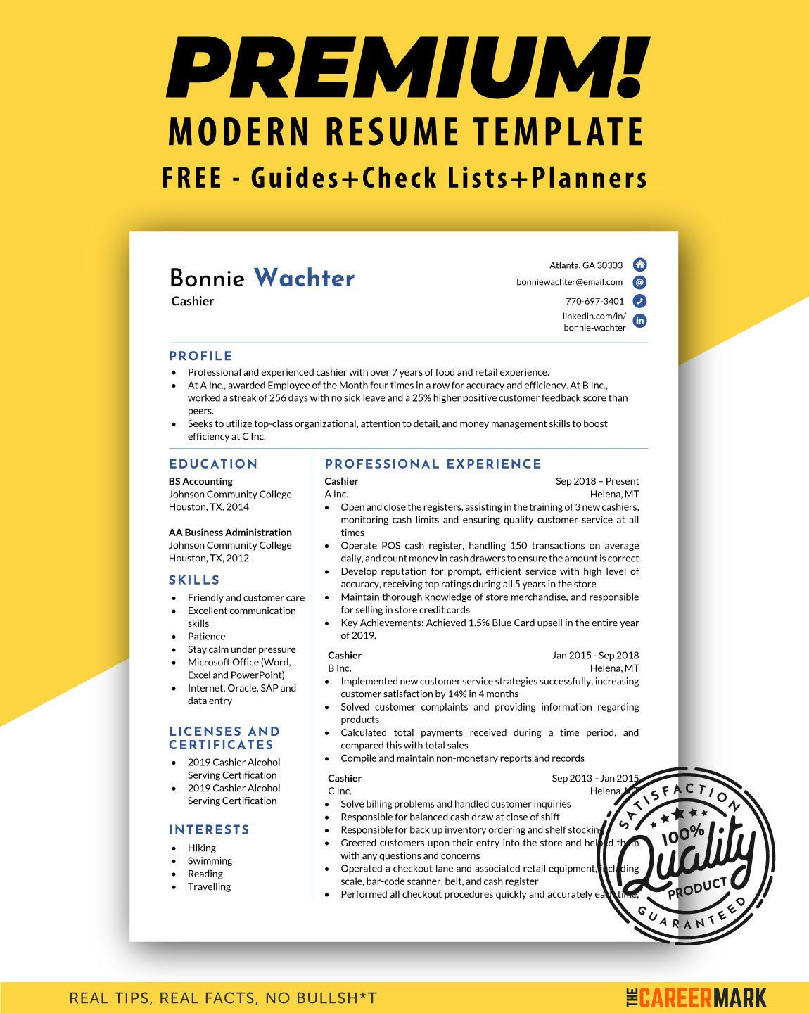 Modern resume template for Word Cashier Resume CV Template