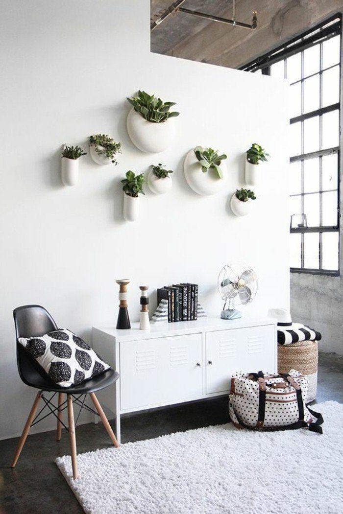 0 entree style minimaliste en blanc et noir tapis blanc mur blanc ...