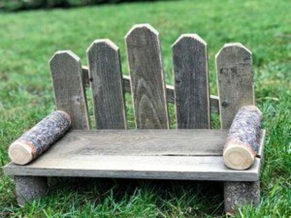 Image of Bitsy Rustic Newborn or Little Sitter Hand Crafted Park Bench #newbornbabyphotography #newb...