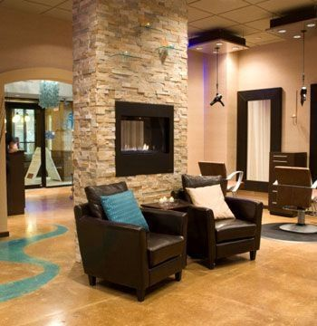 waiting area, fireplace