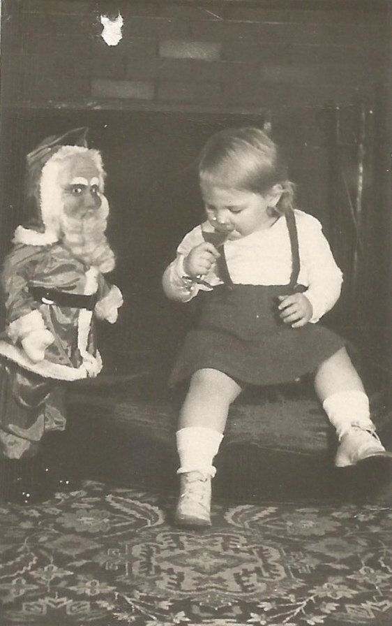 Creepy Santa Watches Baby Drink Wine - Vintage Photo - Christmas ...