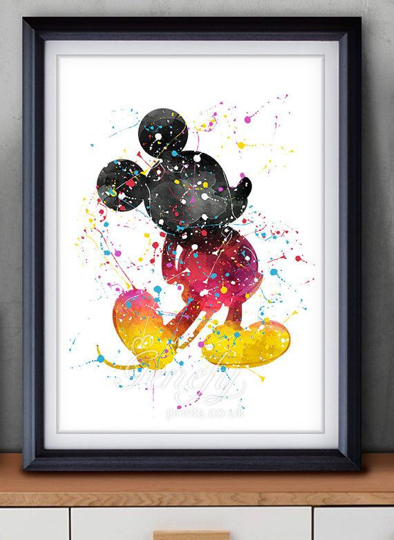 Disney Wall Decor disney mickey mouse watercolor art poster print - wall decor