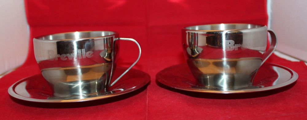 Breville stainless steel cappuccino coffee mugs cups