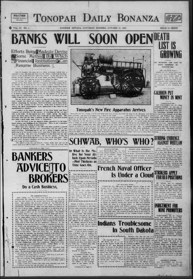 Tonopah daily bonanza. (Tonopah, Nev.) 1906-1929, October 26, 1907 ...