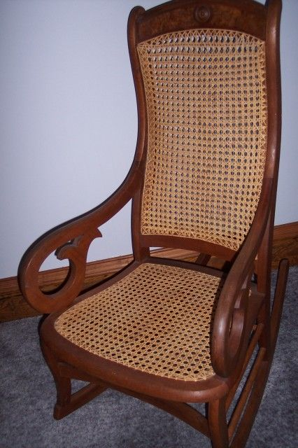 Collectibles-General (Antiques): Antique Lincoln Rocker with cane, caneing, dying art
