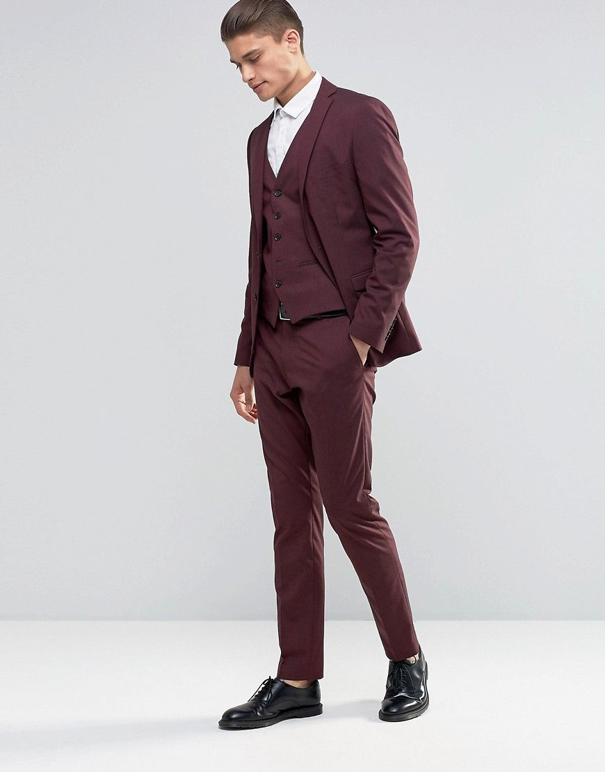 Image 1 of Selected Homme Burgundy Suit with Stretch in Slim Fit ...