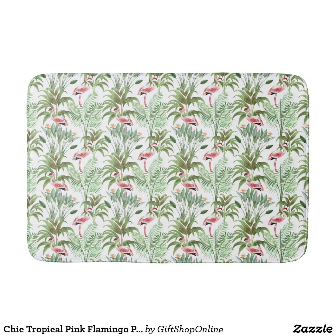 Chic Tropical Pink Flamingo Patterned Bathroom Mat | Zazzle Bathroom ...