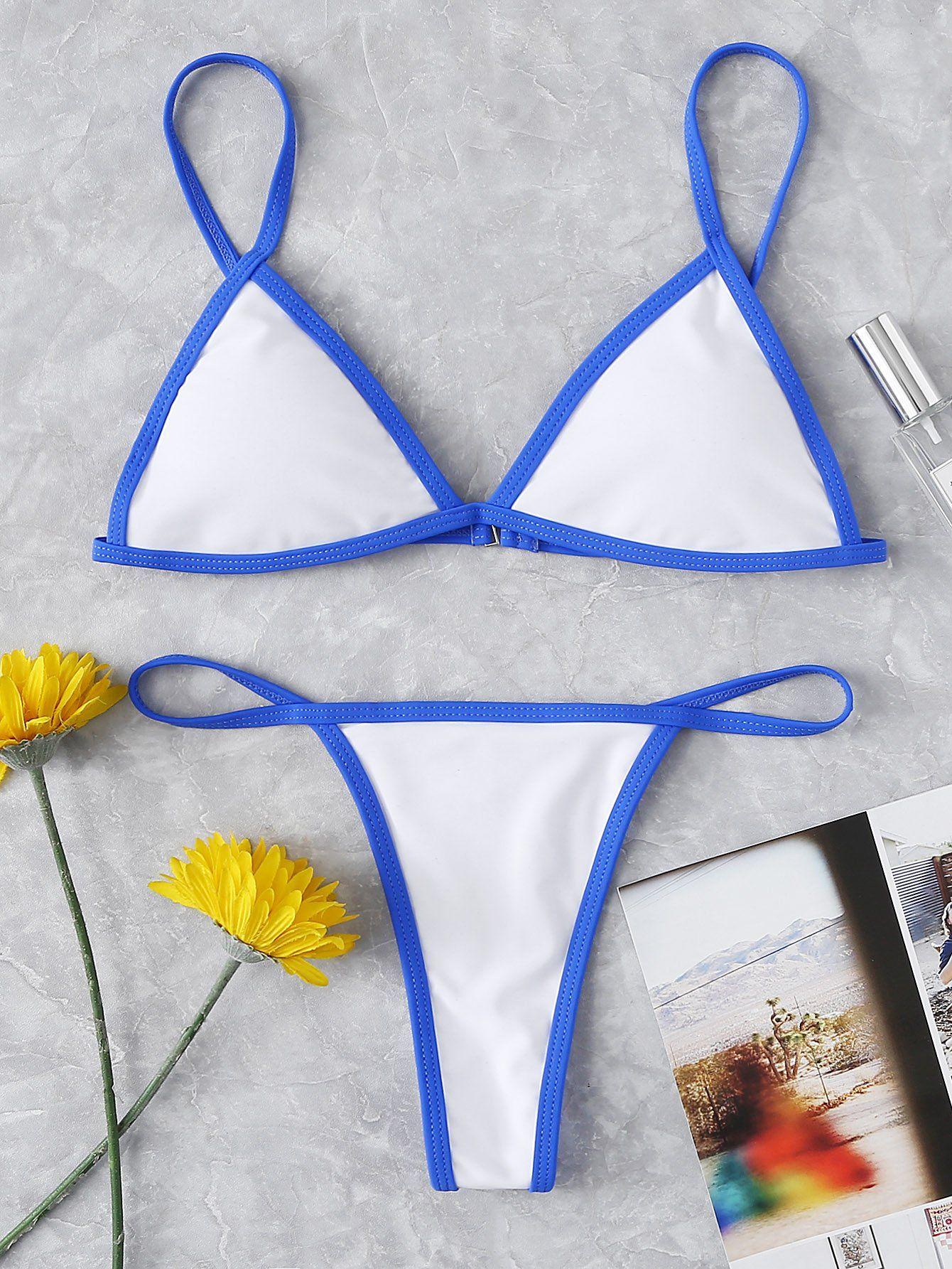 Contrast Piping Bikini Set Shein(Sheinside)
