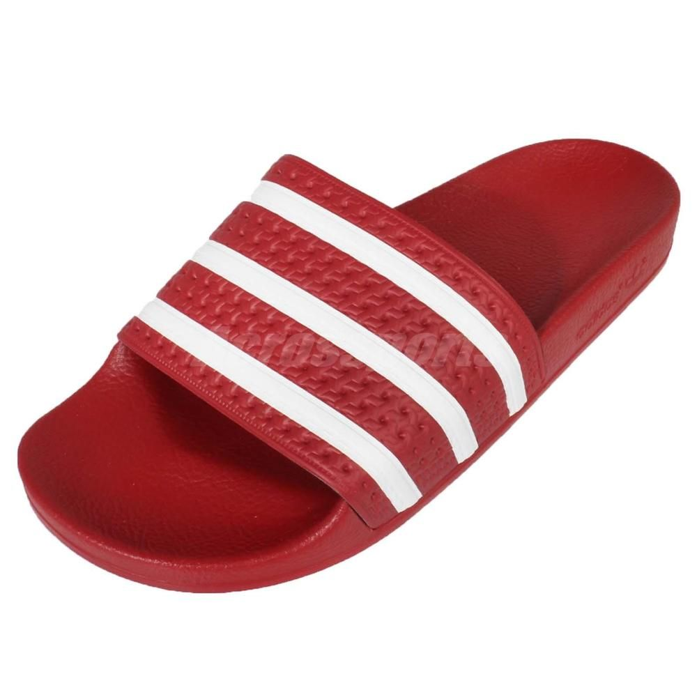 962507807 Adidas Performance Adilette Red White Mens Sports Sandals Slides Slippers  288193