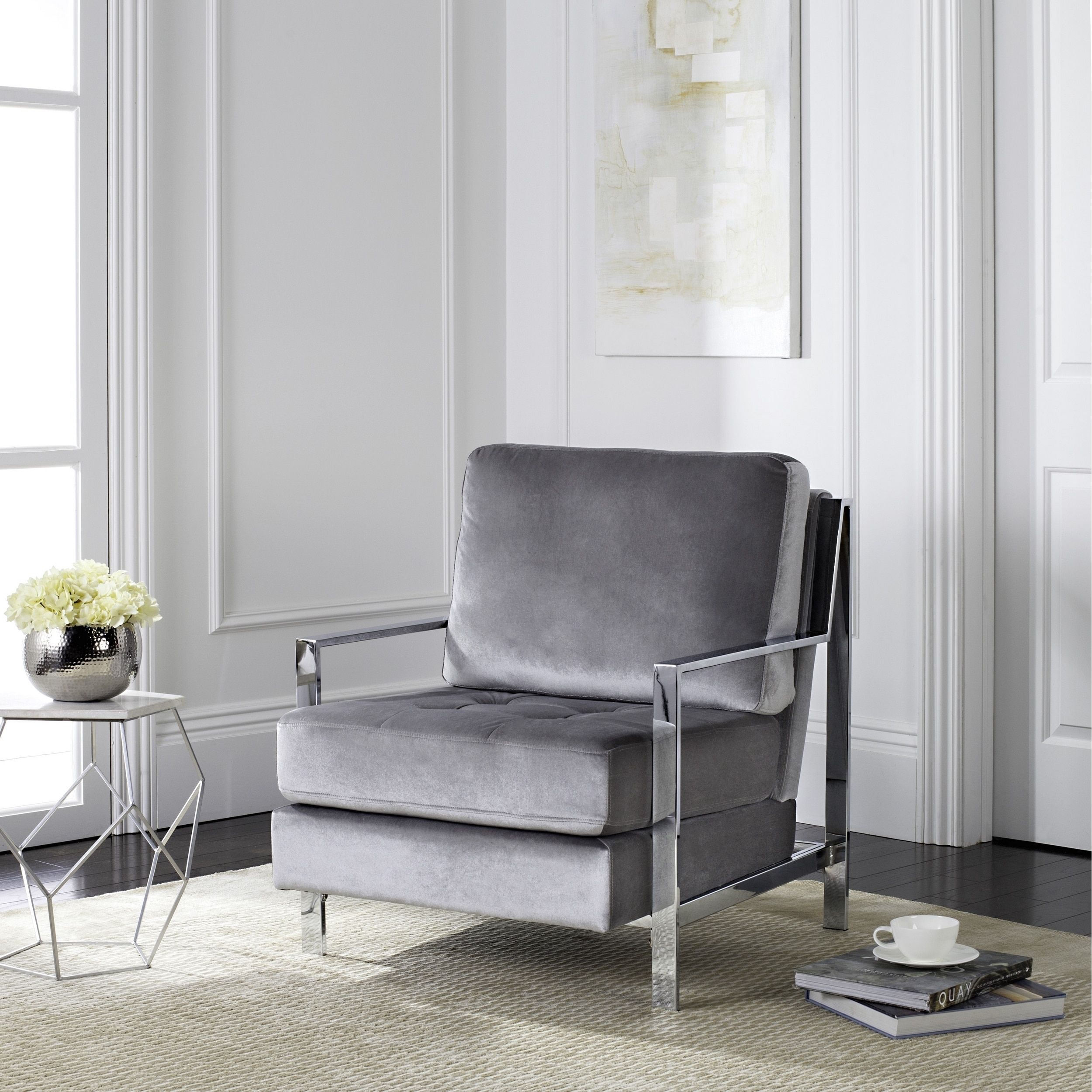 Magnificent Safavieh Mid Century Modern Walden Tufted Velvet Chrome Cjindustries Chair Design For Home Cjindustriesco