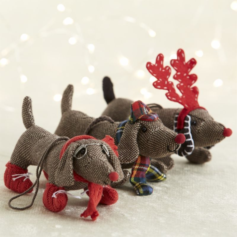 Weenie dog christmas tweed dog ornaments crate and for Crate and barrel dog