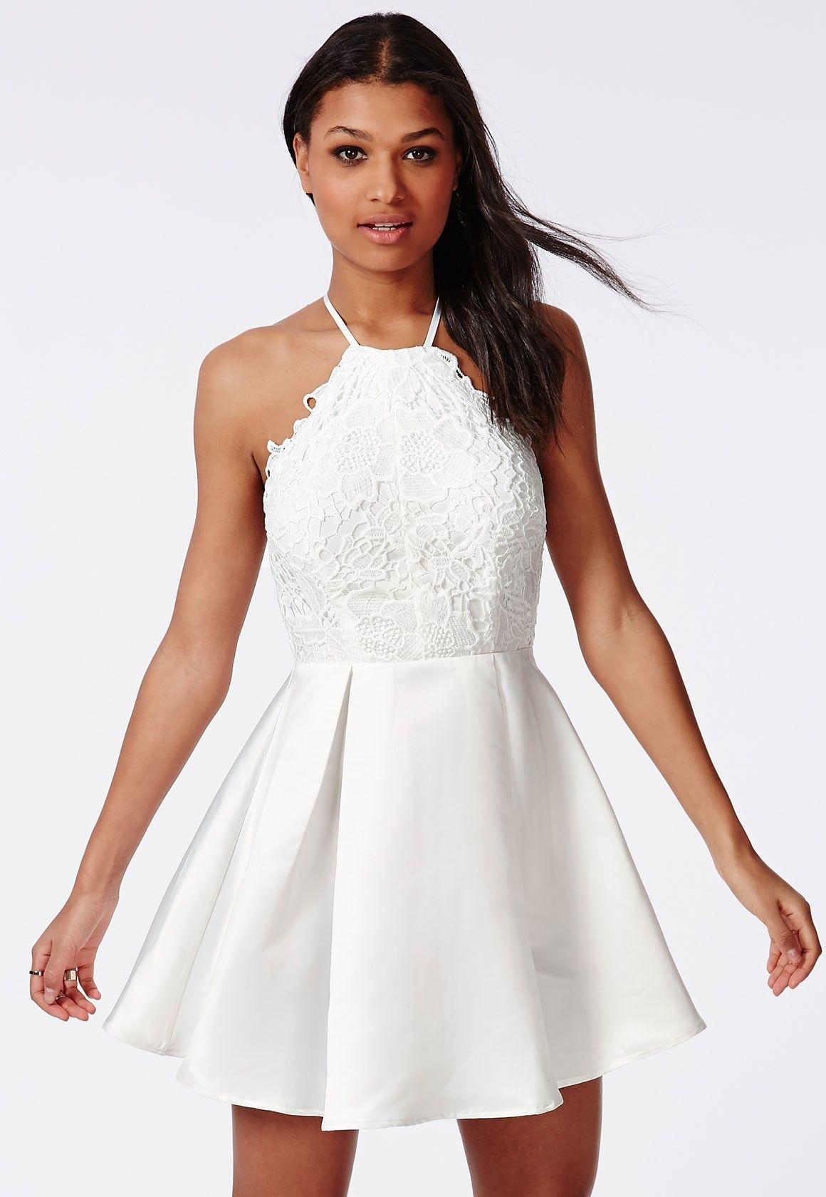 Lace Halterneck Skater Dress White - Dresses - Skater Dresses - Missguided 9407cdf3d