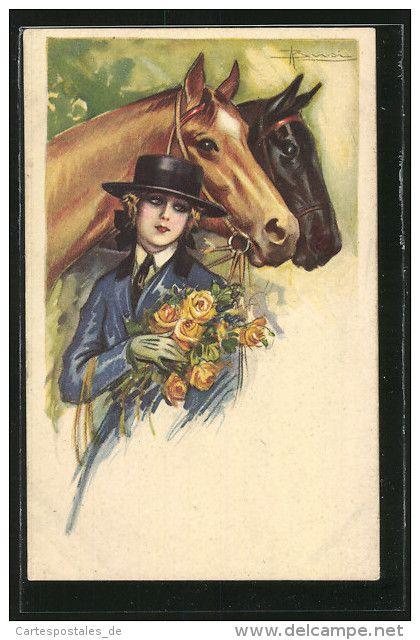 CPA artistes Adolfo Busi: Junge Frau mit Hut hält einen Blumenstrauss vor ihren Pferden