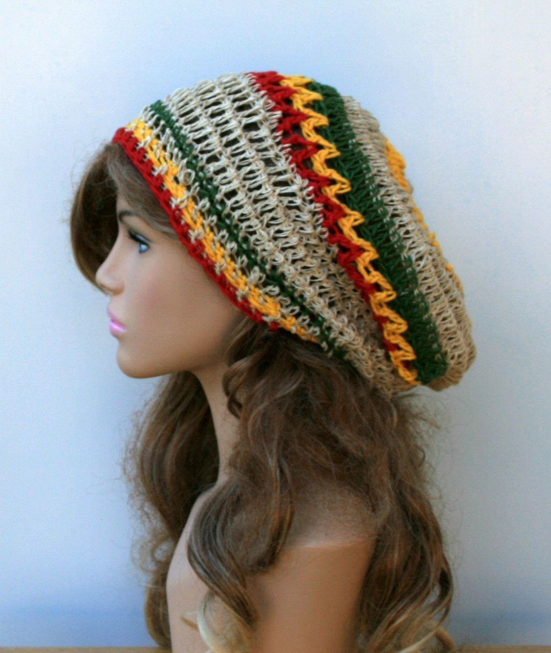 Jamaica slouchy hat, Hemp slouchy beanie hippie, Bohemian ...