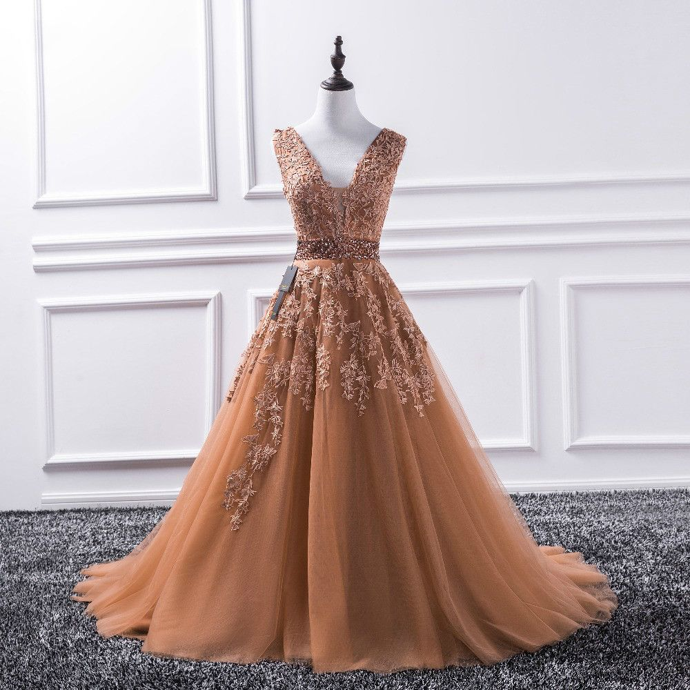 Sexy v neck new lace long prom dresses tulle beaded appliques