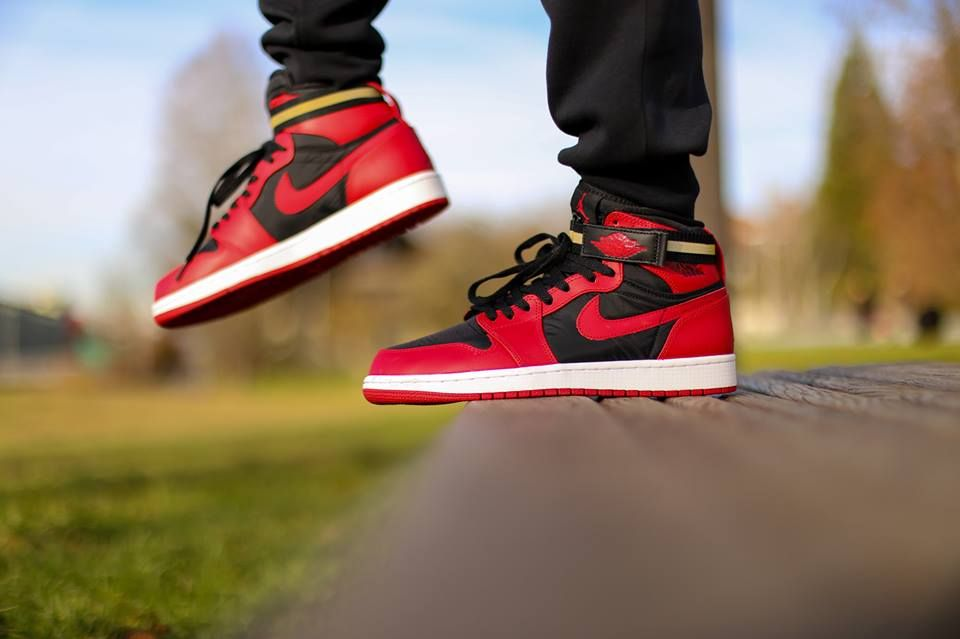 e9bd492e9f391e Nike Air Jordan 1 High Strap  Black Gym Red White