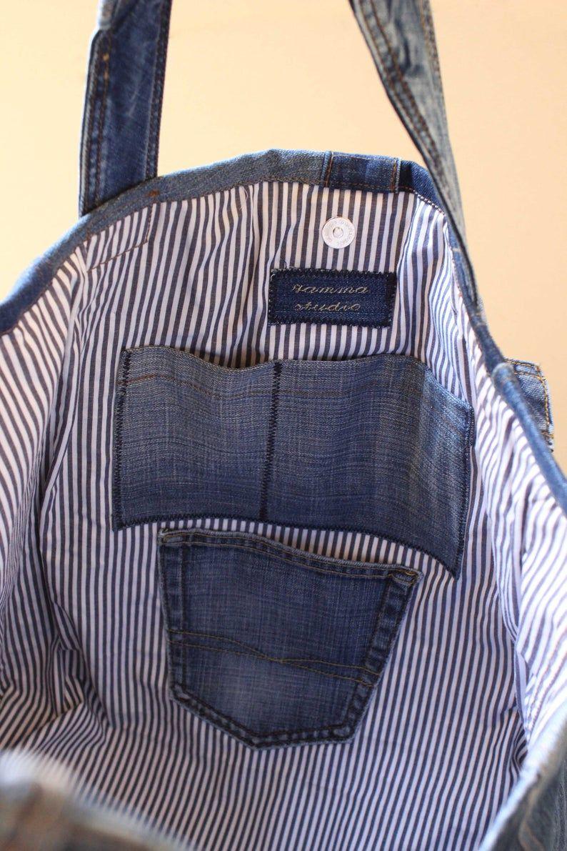 XXL Denim Bag, Travel Bag, Festival Bag, Beach Bag, Recycled Art, Jean Bag, Blue Dark, Jeans Bag, Upcycle Jeans, Recycled Jeans, XXL-01