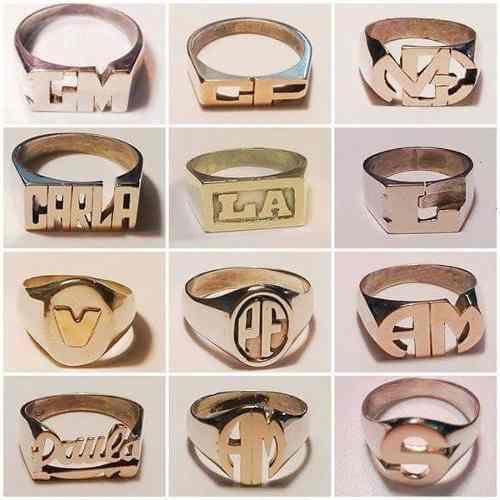 descuento más de moda alta calidad anillos sello con nombre o iniciales en plata y oro ...