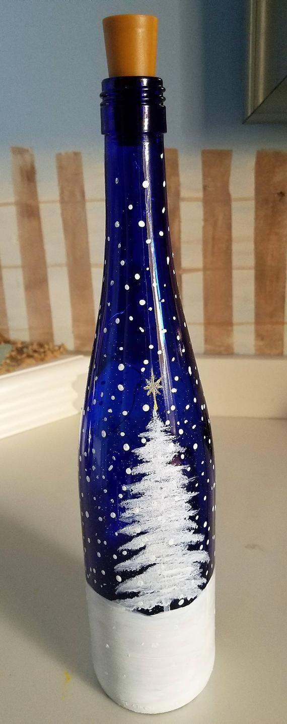 Schneemann leuchten Weinflasche, dekorative leuchtende Weinflasche, Schneemann Familie, Kobaltblau, H …