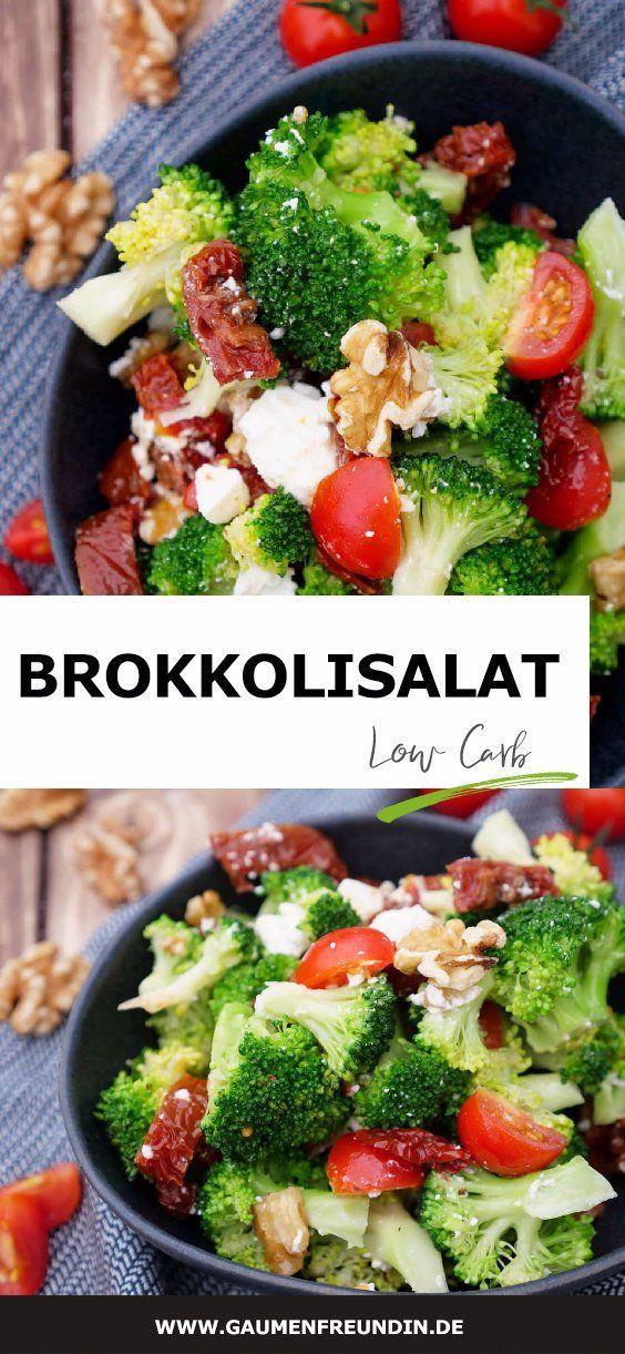 Brokkolisalat mit getrockneten Tomaten, Walnüssen und Feta - ein gesunder Low Carb Fitness-Salat, de...